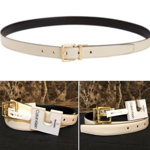 Calvin Klein- Reversible-Blk/White Leather Belt-L